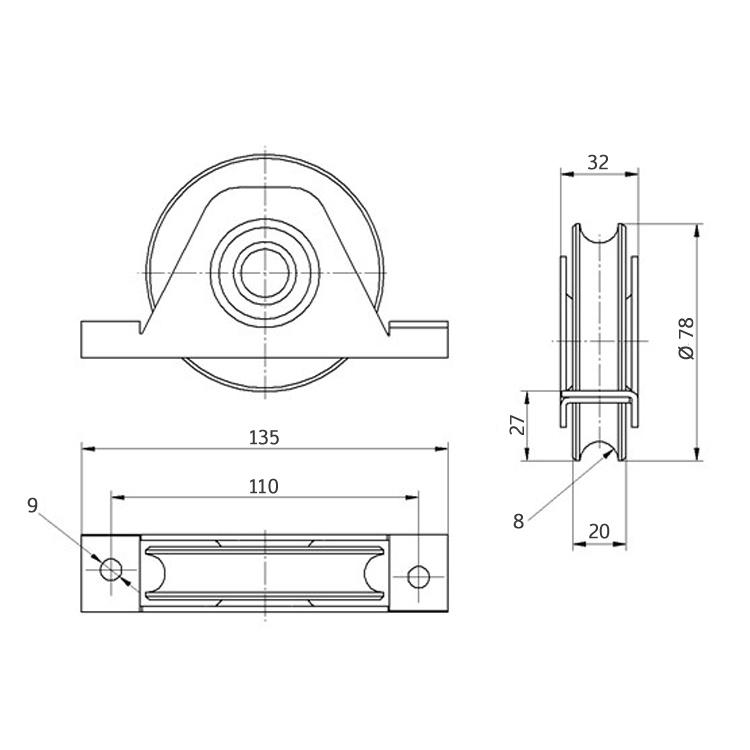 H//38U-80C Laufrolle für Schiebetore Stahl // verzinkt kugelgelagert